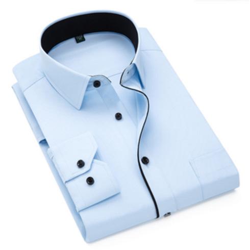 新品企业男式长袖衬衫 商务条纹职业工作服男装正装免烫衬衣定制