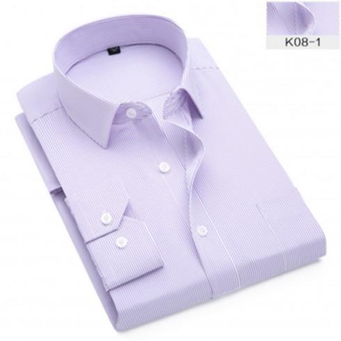 新品男式长袖衬衫 商务条纹职业工作服男装正装免烫衬衣定制