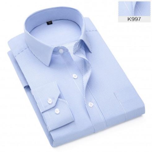 新品男式长袖衬衫 商务条纹职业工作服男装正装免烫衬衣定制条纹