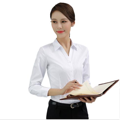 优质精选职业装女装V领衬衫女修身白色衬衫白领工作服蓝色衬衫