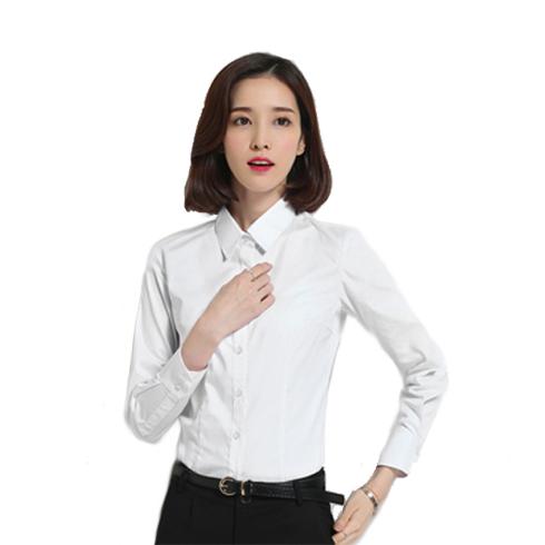 春季女式衬衫长袖职业装衬衫女白色棉工作服白领定制