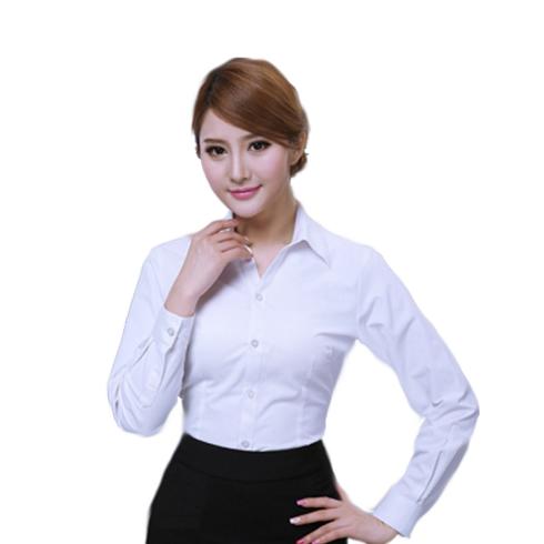 韩版女士短袖V领衬衫 暗斜纹商务修身白衬衣 OL白领职业装可定制