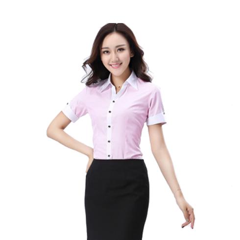 商务办公职业装 女士休闲衬衫 白领工作服 短袖女装带扣定制