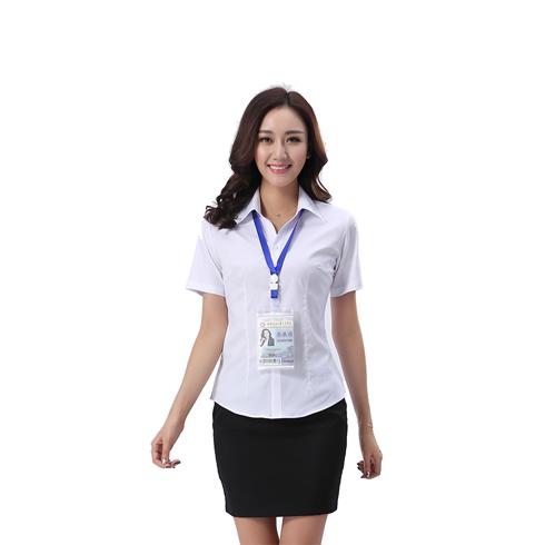 新款 白衬衫女工装短袖衬衫职业装衬衣女正装套裙工服