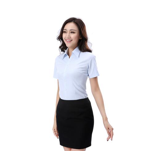 新款女士定做修身条纹蓝衬衫女 短袖女装职业工作服衬衣