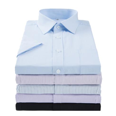 男式短袖纯白色修身职业衬衫免烫商务条纹工装衬衣定制绣花LOGO