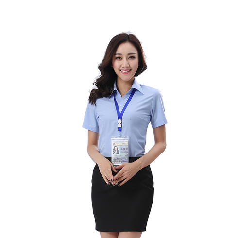 夏季女士短袖衬衫免烫工作服工装韩版商务修身衬衣定制