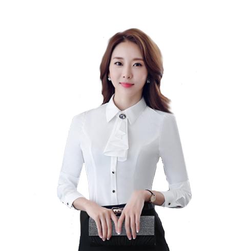 新款OL职业装涤纶女衬衫修身显瘦长袖紫色衬衣百搭工作服