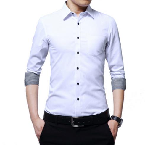 长袖衬衫男青年商务休闲修身型衬衣
